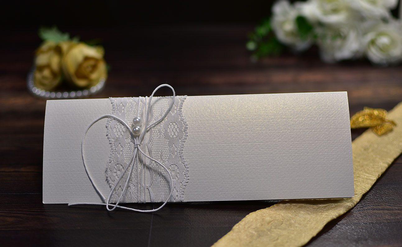 Προσκλητήριο γάμου δαντέλα Πέρλες
