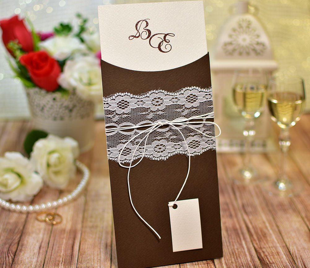 Προσκλητήριο Γάμου χειροποίητο Δαντέλα