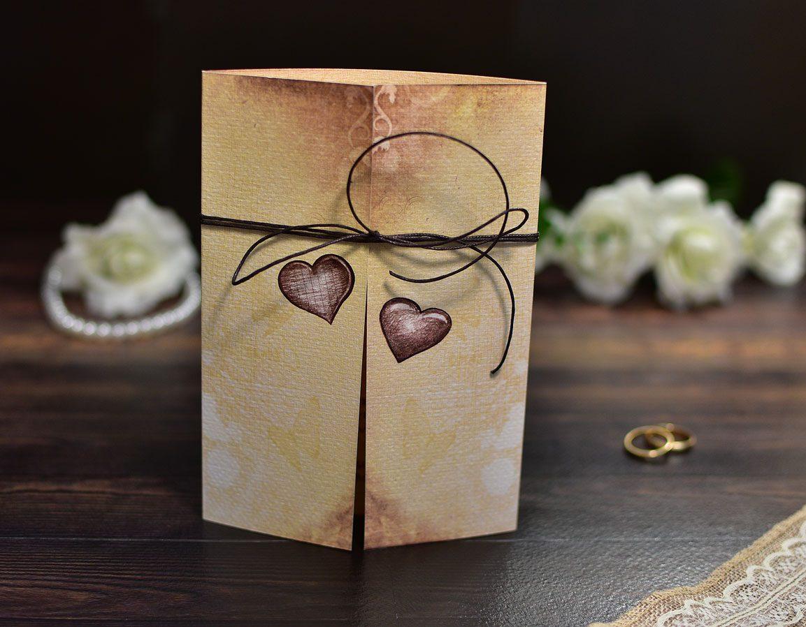 Προσκλητήριο Γάμου Τρίπτυχο Καρδιές