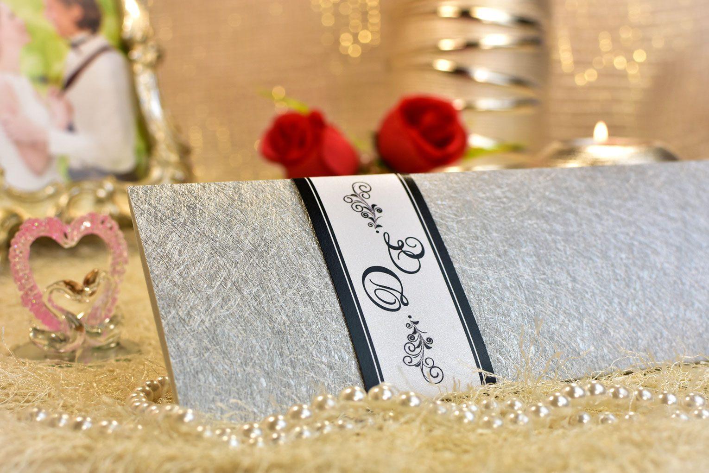 Προσκλητήριο γάμου ασημί ανάγλυφο
