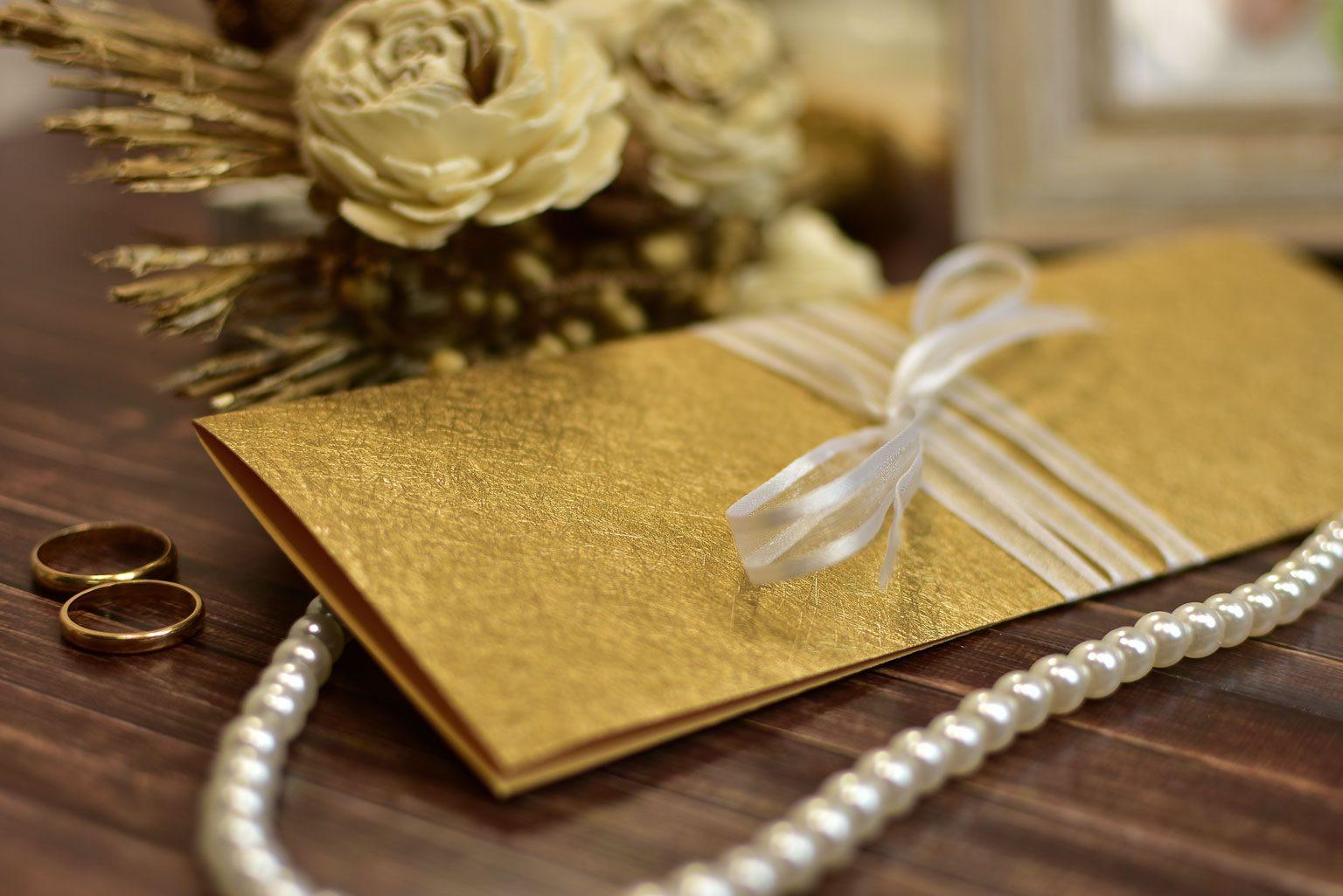 Προσκλητήριο Γάμου Χρυσό